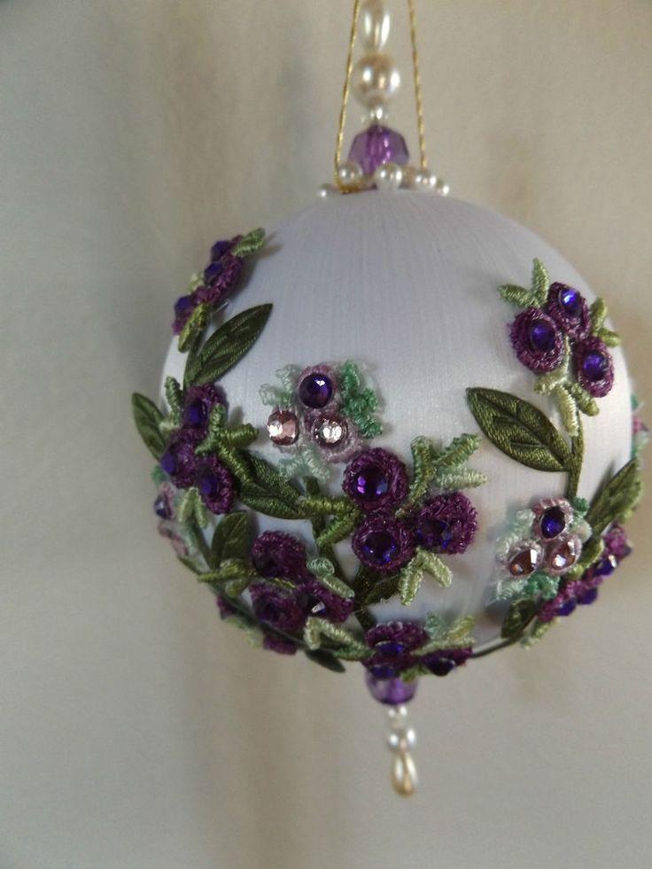"""JUNE ZIMONICK inspired Beaded Ornament """"Grandma's Flower Garden"""" ~Applique"""