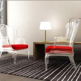 Philippe Starck, wingback ghost chairs.
