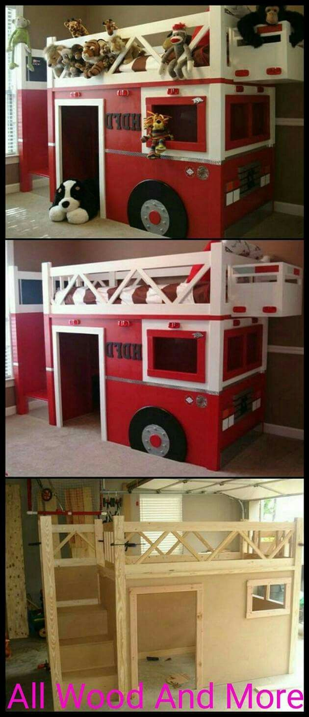 Fire truck loft bed with slide   best Design images on Pinterest  Good ideas Woodworking and
