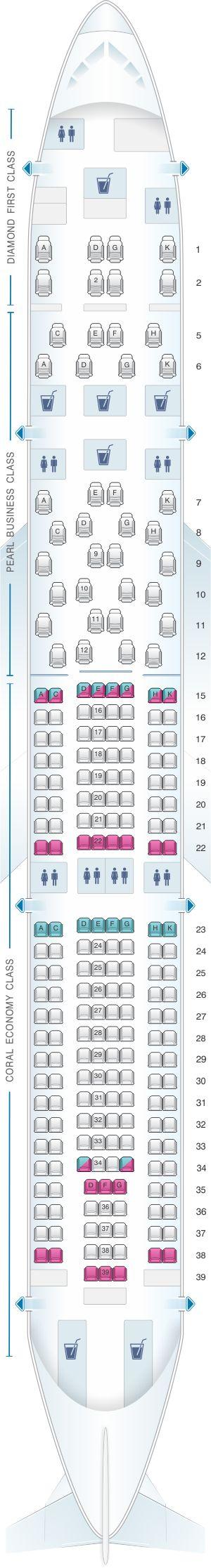 Seat Map Etihad Airways Airbus A330 300