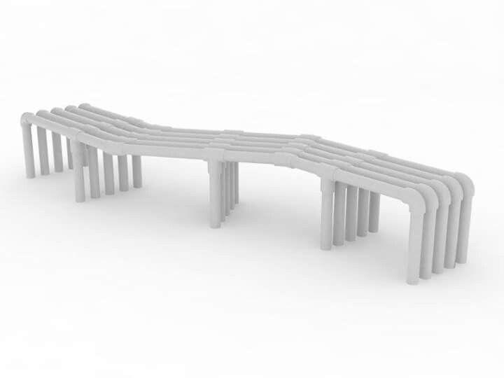 ROU - městský mobiliář (lavička; z plastových topenářských trubek)