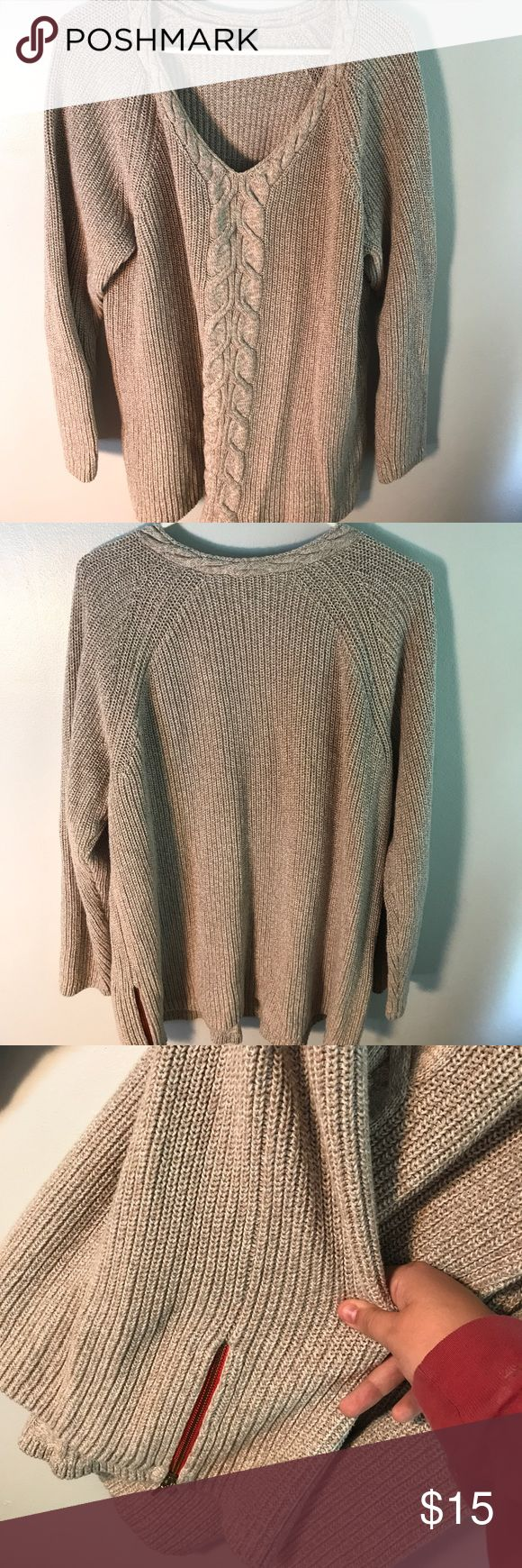 Talbots Women's Chunky Cable Knit Sweater Never worn, tan, oversized knitted sweater from Talbots. Full length sleeves. Overall longer in length, perfect for wearing with leggings. Orange-ish red zipper detailing on both sides of the sweater. Best fits sizes 16-20. No stains or tears. Talbots Sweaters V-Necks
