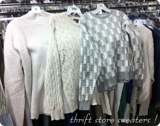 Thift store sweaters for Pillows