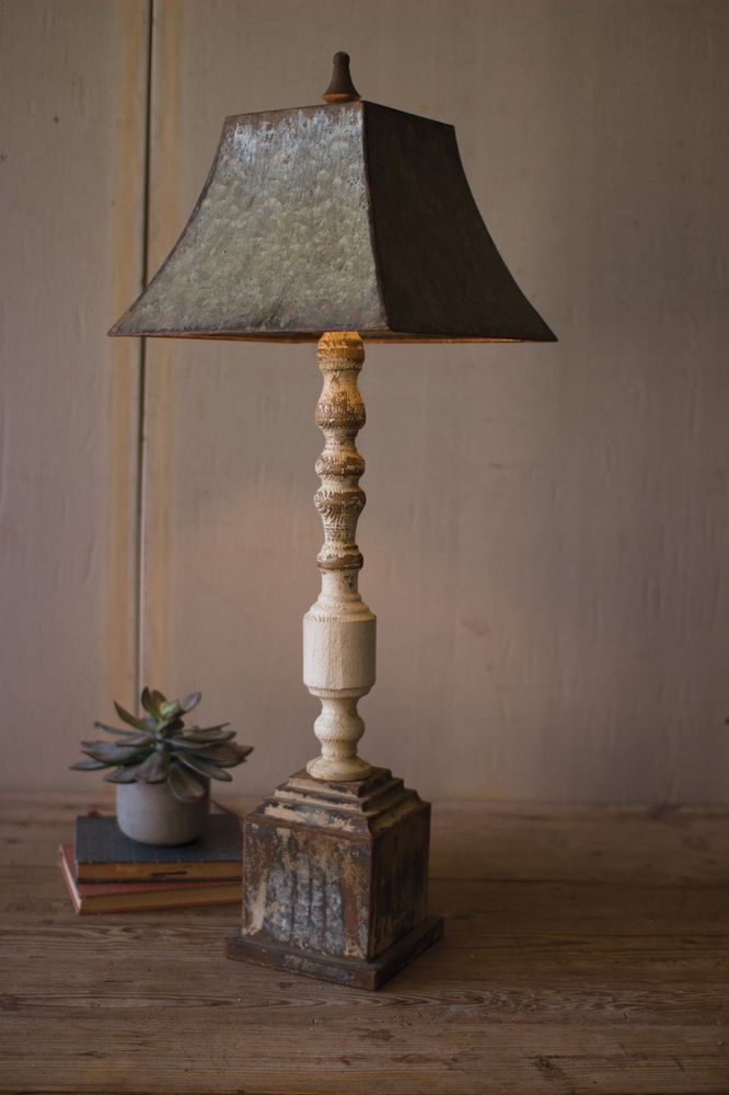 Tall Turned Wood Banister Lamp Rustic Turned Wood Table Lamp Metal Shade Farmhouse Style Lighting Fixtures Rustic Lamps Farmhouse Light Fixtures
