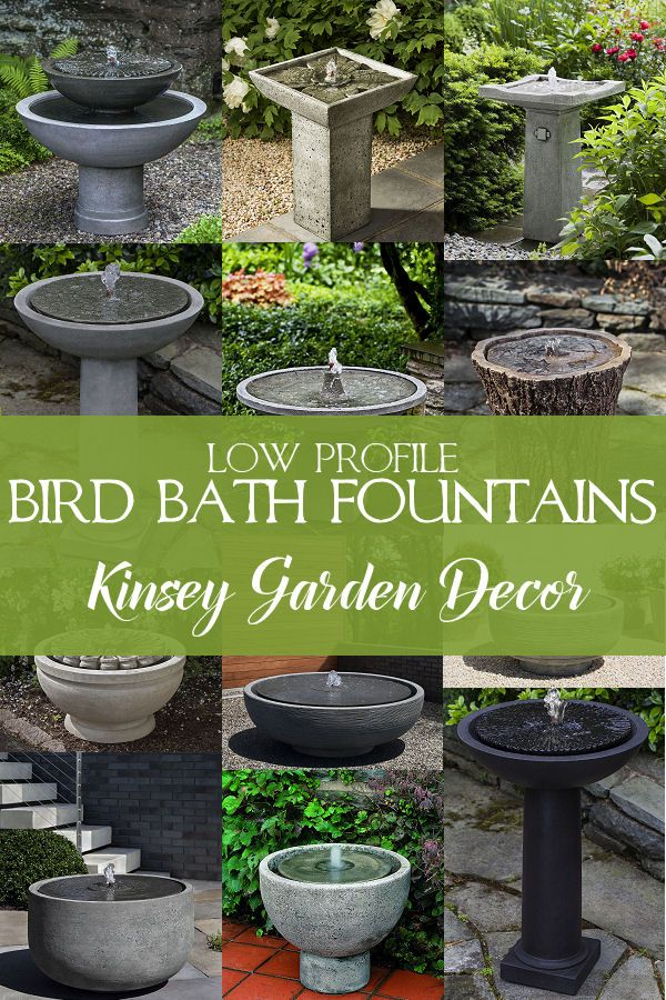 Kinsey Garden Decor Low Profile Short Bird Bath Water Fountains Cast Stone Stone Bird Baths Bird Bath Fountain Bird Bath