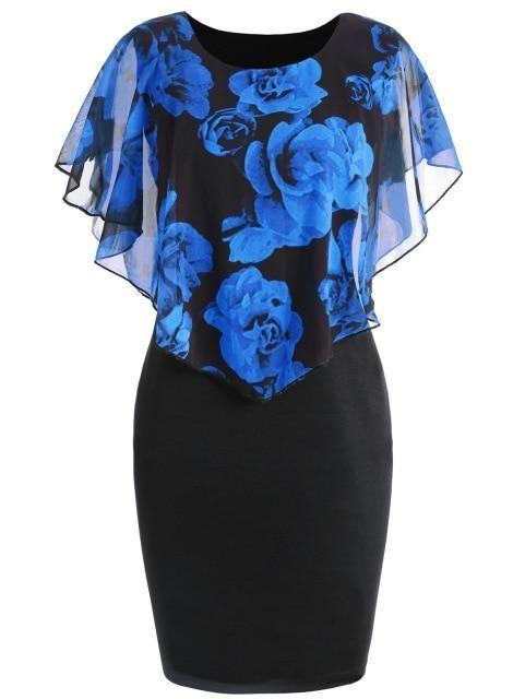 Gamiss Sommer Plus Size 5XL Rose Valentine Overlay Capelet Kleid Frauen Clothingrricdress
