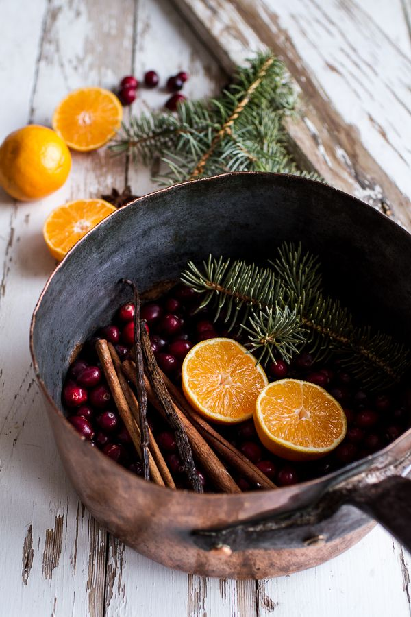 There is no easier way to get ready for Christmas than by simmering a pot of delicious-smelling holiday ingredients on the back burner of your stove. The best thing about this potpourri recipe is that you can use whatever you have on hand! Get the tutorial at Half Baked Harvest.    - CountryLiving.com