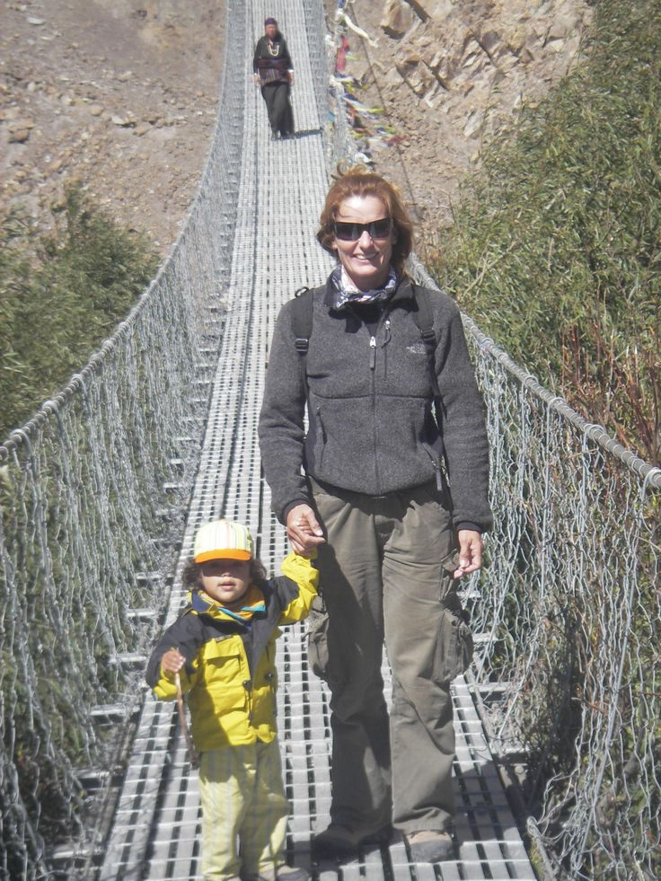 Lene trekking with her adopted daughter in Kag Beni, Nepal