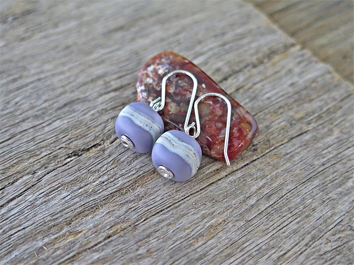 LILAC SQUARES. STERLING SILVER & LAMPWORK EARRINGS
