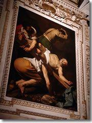 """Caravaggio's """"Crucifixion of St. Peter"""" (1602) in Rome's Santa Maria del Popolo"""