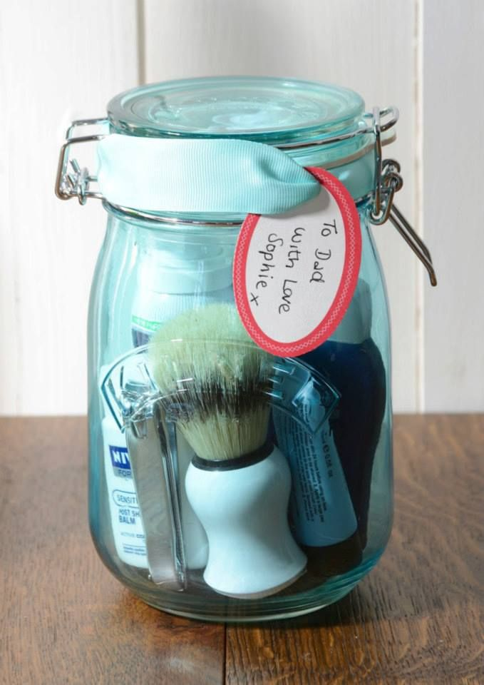 Great home made present for Dad. Put together a lovely home grooming kit in a beautiful blue Kilner Jar so dad can keep all his bathroom bits nice and tidy. #kaleidoscope #kilner #inspo