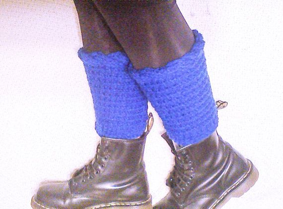 Royal blue boot cuffs knit boot liners cable boot by HandmadeTrend