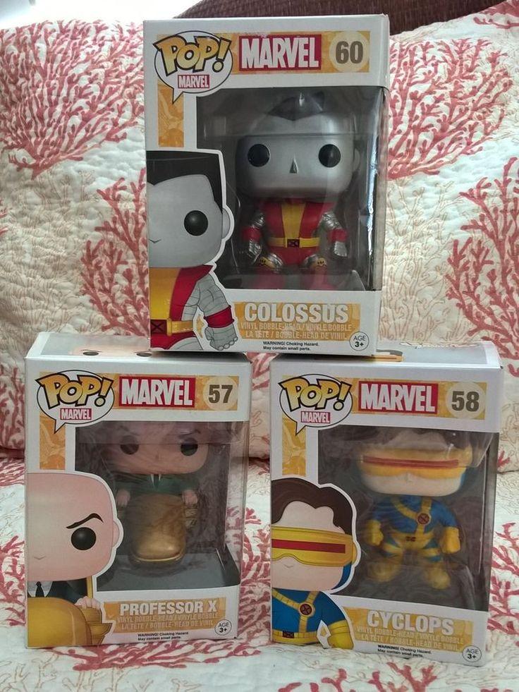 Funko Pop Bobble Head Set Lot Marvel Professor X Cyclops Colossus Figures Toy