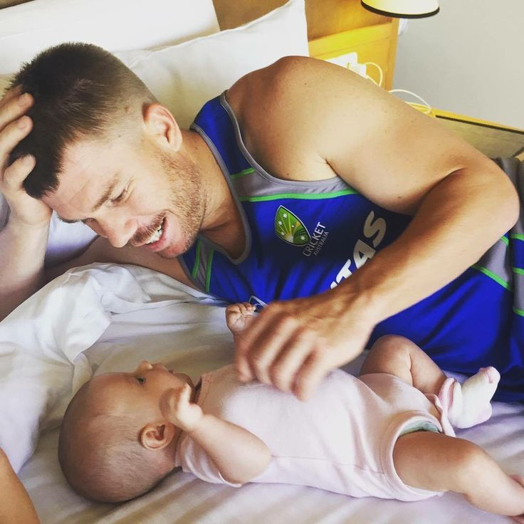 David Warner with his daughter ahead training session #WT20 #AUS