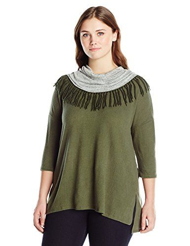 Fashion Bug Women's Plus Size Dolman Sleeve Soft Shirt with Cowl Neck  Fringe, Olive Harvest