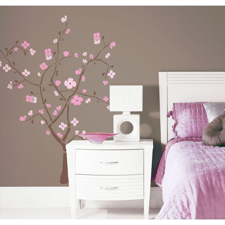 18 In X 40 In Spring Blossom 105 Piece Peel And Stick Giant Wall Decal Rmk1555gm The Home Depot Tree Wall Decal Wall Decor Stickers Tree Wall Stickers
