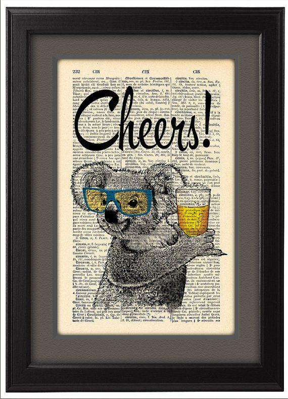 Koala with glasses and beer, Cheers Koala Geekery,  DICTIONARY Print  poster, Dorm decor, Koala Gift poster, Home Wall decor, CODE/144