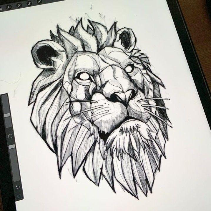 León geométrico diseño tattoo