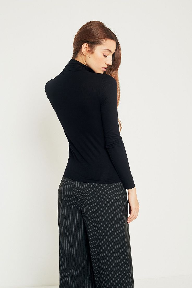 Slide View: 4: Urban Outfitters Rib Roll Neck Top