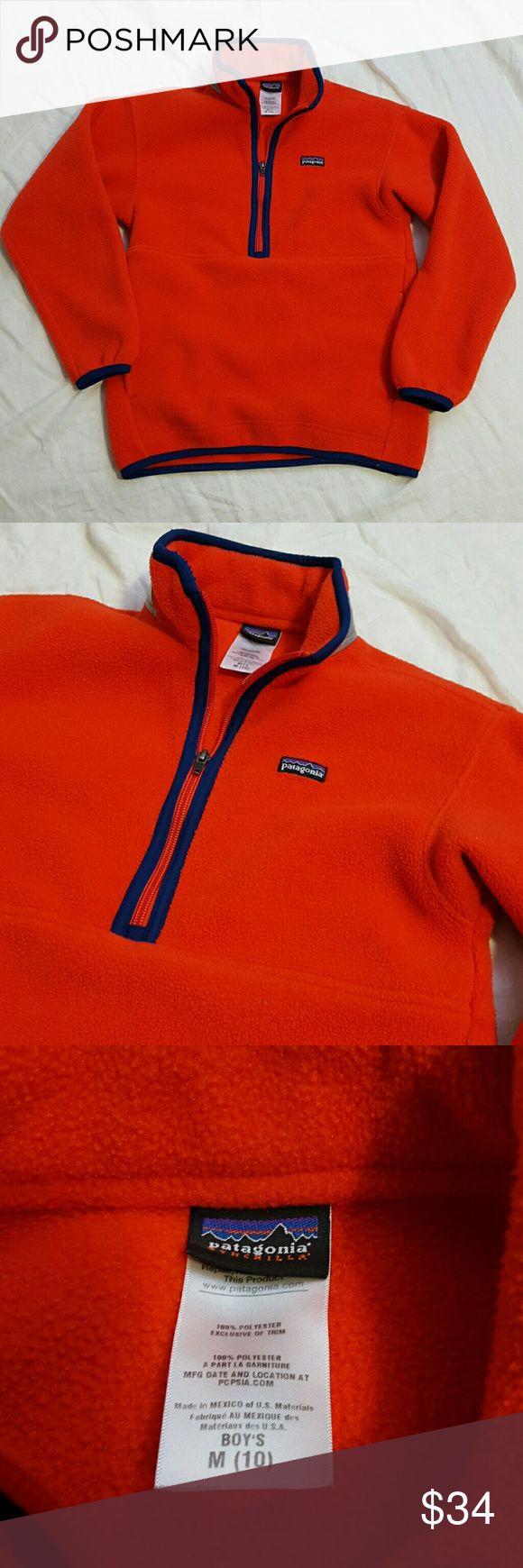 Patagonia Synchilla Boys Orange Pullover Fleece Patagonia Synchilla fleece Bright orange pullover Size: boys Medium (10) Great Condition Patagonia Jackets & Coats