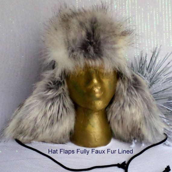 Navy Blue Suede Trapper Hat With Gray Whites Faux Fur Trim Lining, Low Loft Insulation, Fleece Fabric Lined, Full  Hat Ear Flaps, Winter Hat, Hat Earflaps Lined, Suede Leat...