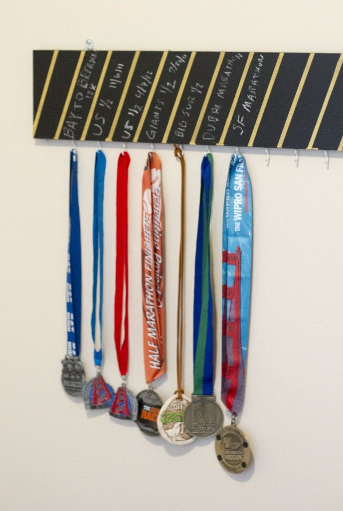 chalkboard to display running medals!