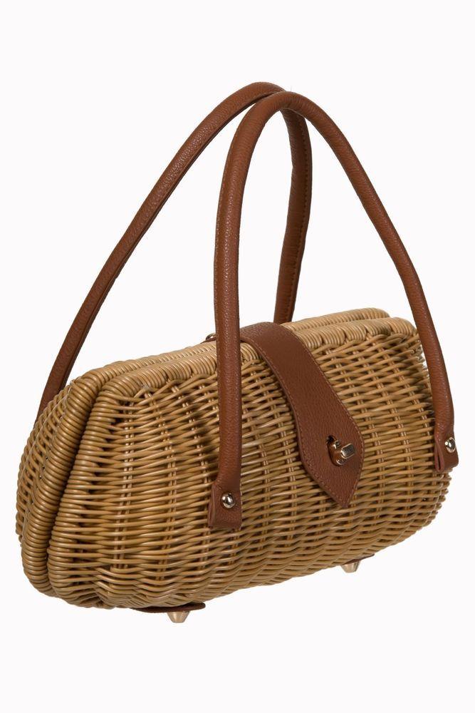 Retro Las 1940 S 1950 Style Brown Rattan Wicker Handbag Box Bag