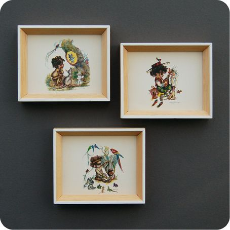 Three small prints from renowned Australian artist #Brownie Downing in light wood frames with white painted edge trim. Ideal for a child's room or the nursery. £8.00 from The Foundery – NOW SOLD