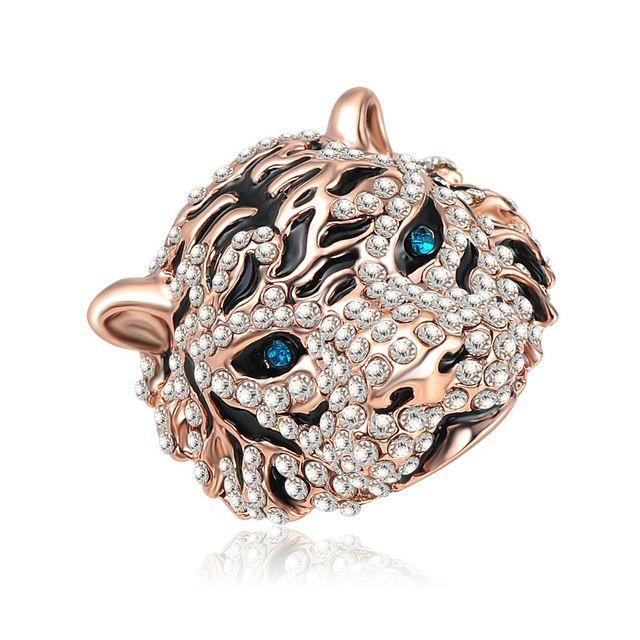 MEIJIA Mais Novo Esmalte Em Forma de Tigre Do Punk Anéis de Noivado/Saphire Anéis Rosa de Ouro Cor Cristal Checo Bijuterias Ri-HQ0177