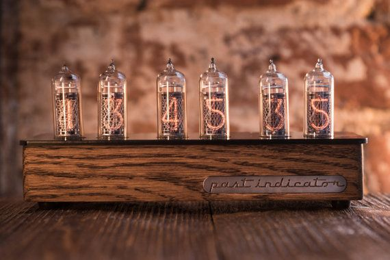 Nixie tube clock in oak case with acrylic top by PastIndicator