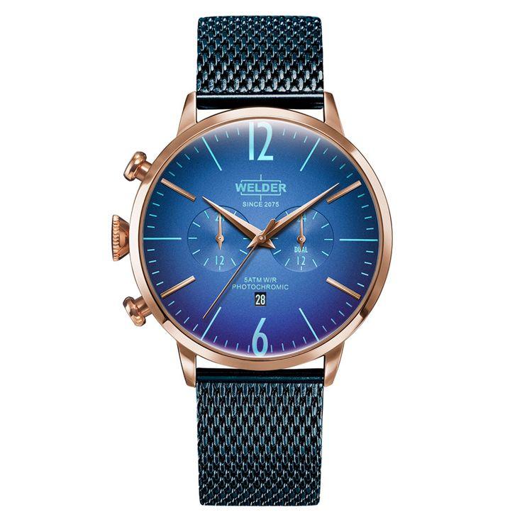 Ανδρικό μοντέρνο ρολόι WELDER WWRC418 Moody με μπλε καντράν, ροζ ατσάλινη κάσα & μπλε ατσάλινο μπρασελέ | Ρολόγια WELDER ΤΣΑΛΔΑΡΗΣ στο Χαλάνδρι #Welder #ρολογια #φωτοχρωμικα #ροζ