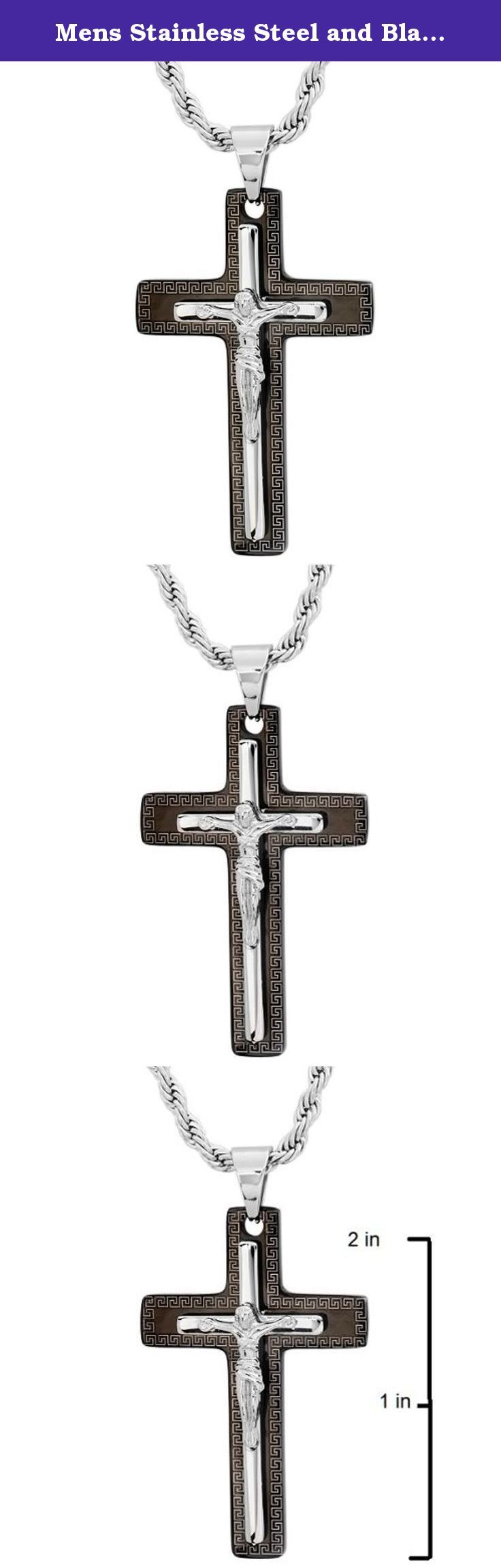 Mens Stainless Steel and Black Crucifix Pendant-Nacklace on a 30 in. Stainless Steel Rope Chain. Mens Stainless steel and black cross measures over 2 1/2 inches including the bale. This is a solid piece of stainless steel jewelry and comes on a 30 inch stainless steel rope chain.