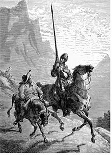 Don Quixote,  a master work in Spanish literature.