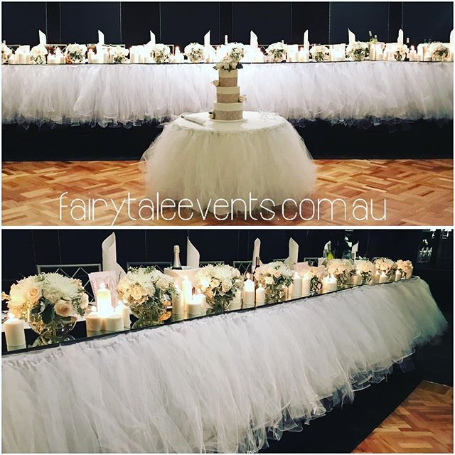 Our new tulle bridal and cake table skirting made its debut at LeMontage. This look is absolutely divine 💖 #fairytaleevents #sydneywedding #lemontage #lemontagesydney #tullebridaltable #tullecaketable #weddinghire