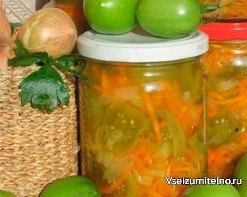 Салат с зелеными помидорами и морковью.  Ингредиенты:  3 кг зеленых помидоров 1,5 кг моркови 1,5 кг лука репчатого для маринада: 300 г растительного масла 200 г сахара 300 г уксуса 9% 5-6 лавровых листов 6 горошин черного перца  Процесс приготовления:  Нарезать помидоры кружочками, натереть морковь на крупной терке, нарезать кольцами лук, выложить все в таз, добавить 100 г соли, сахар, и оставить на ночь (примерно на 10-12 часов). Слить по прошествии данного времени из овощей…
