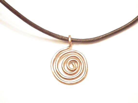 Sun symbol copper wire pendant spiral necklace leather
