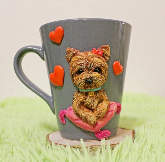 gift mug with polymer clay decorative mu ghandmade mug gift