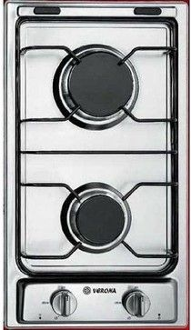 """Verona 12"""" Gas 2 Burner Cooktop Stainless Steel contemporary-cooktops"""
