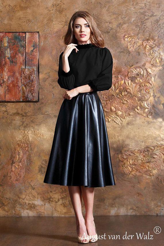 Noir jupe en cuir jupe MIDI jupe longue jupe par A…