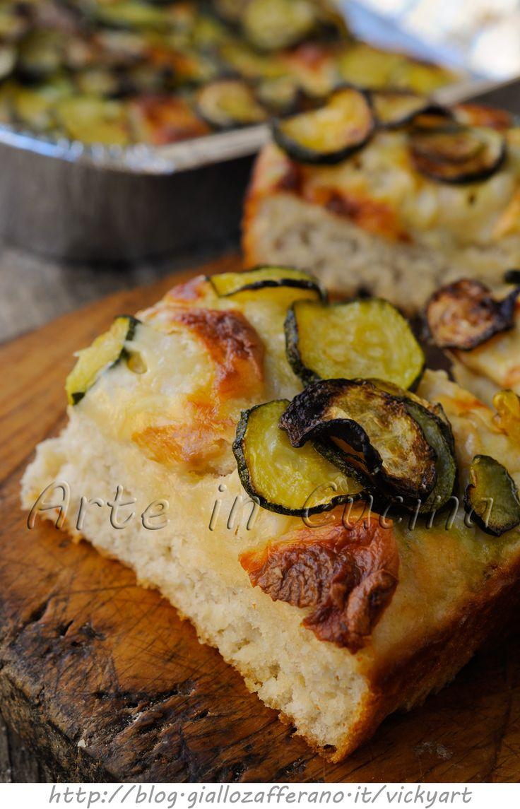 Focaccia alta e soffice con zucchine ricetta facile vickyart arte in cucina