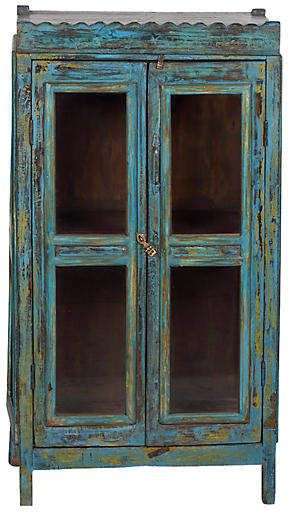 One Kings Lane Vintage Hand-Painted Cabinet - blue painted furniture #ad