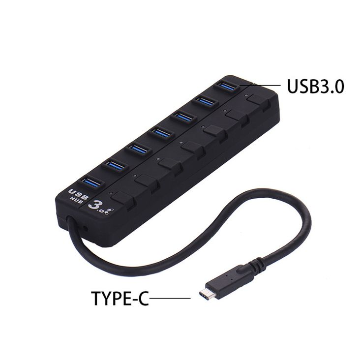 Quality Type-C to 7 Ports USB HUB Fast Speed USB 3.0 on/off Switches with Led light for PC Mac Notebook Peripherals Accessories