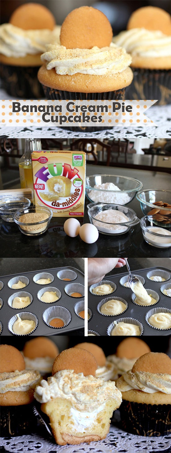 All the fun and flavor of banana cream pie in cupcake form, thanks to Betty's FUN da-Middle cupcake mix! Banana cream cheese frosting, graham cracker crumbs and a big ol' vanilla wafer cookie on top make them irresistible. Click through for step-by-step photos!
