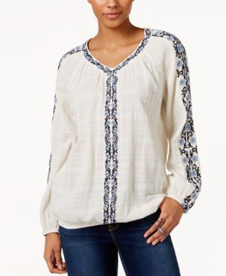 Style & Co Petite Cotton Embroidered Peasant Top, Only At Macy's