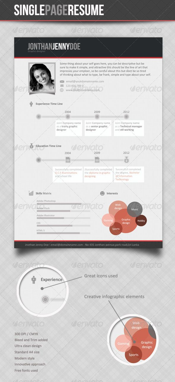 38 best Résumés images on Pinterest Creative resume, Page layout - single page resume