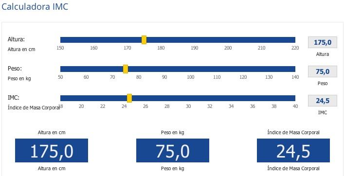 Con la Calculadora IMC, Calcula tú índice de masa muscular y sabrás si tienes bajo peso ( por debajo de 18.5), si estás normal  de (18.5 a 24.9), si tienes sobrepeso (25 a 29.9) o obesidad ( 30 o mas).