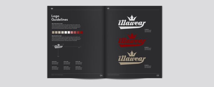Brand guidelines publication design for Illawear Clothing. View the full project at www.ruffhausdesign.co.nz