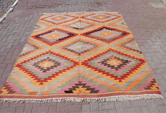 Handmade vintage turkish kilim rug large rug area rugs