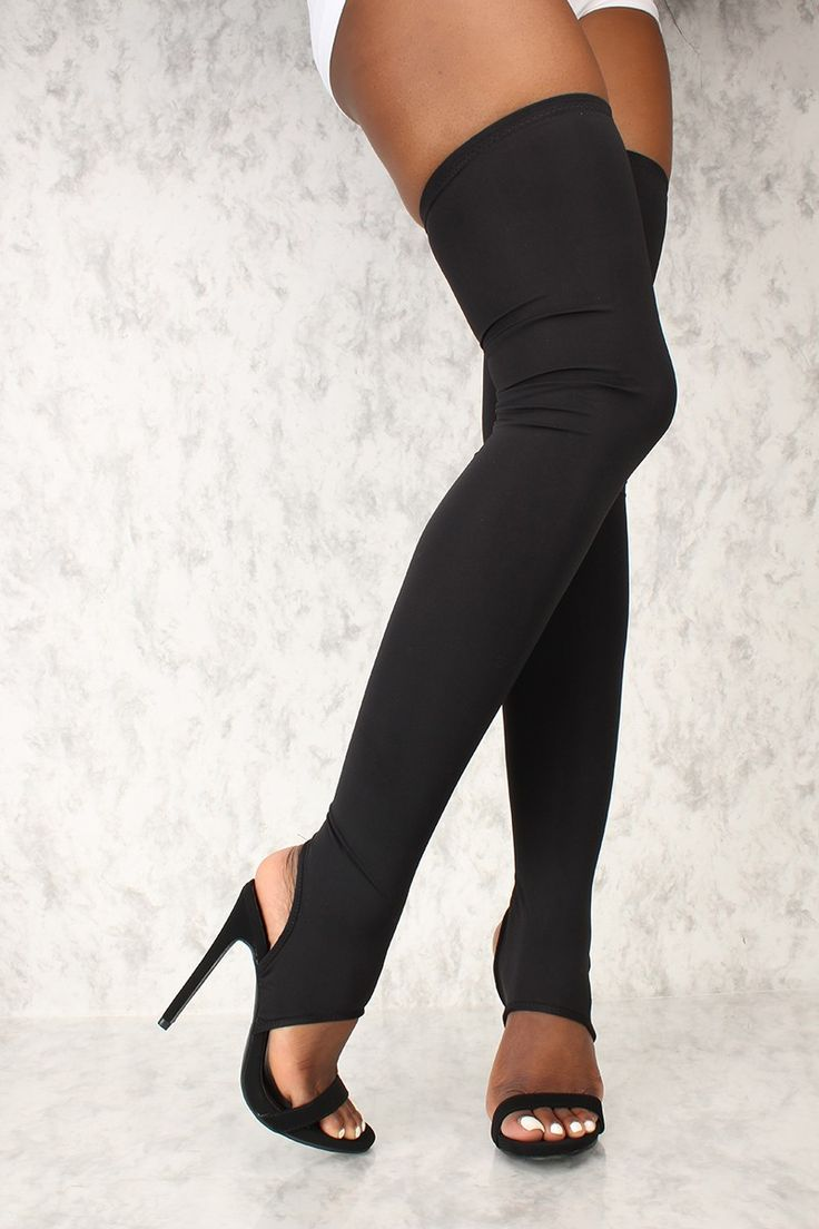 Pin Striped Thigh High With Satin Bow