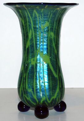"""LOETZ MICHAEL POWOLNY A superb titania vase with applied blue glass rim and three feet, wonderful color. Designed by Michael Powolny. Height 7"""". Date c 1920."""